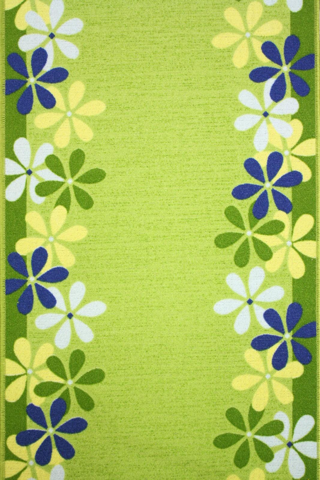 Teppich läufer grün  Läufer Brücke Teppich Läufer Margerite terracotta und grün 100 cm ...