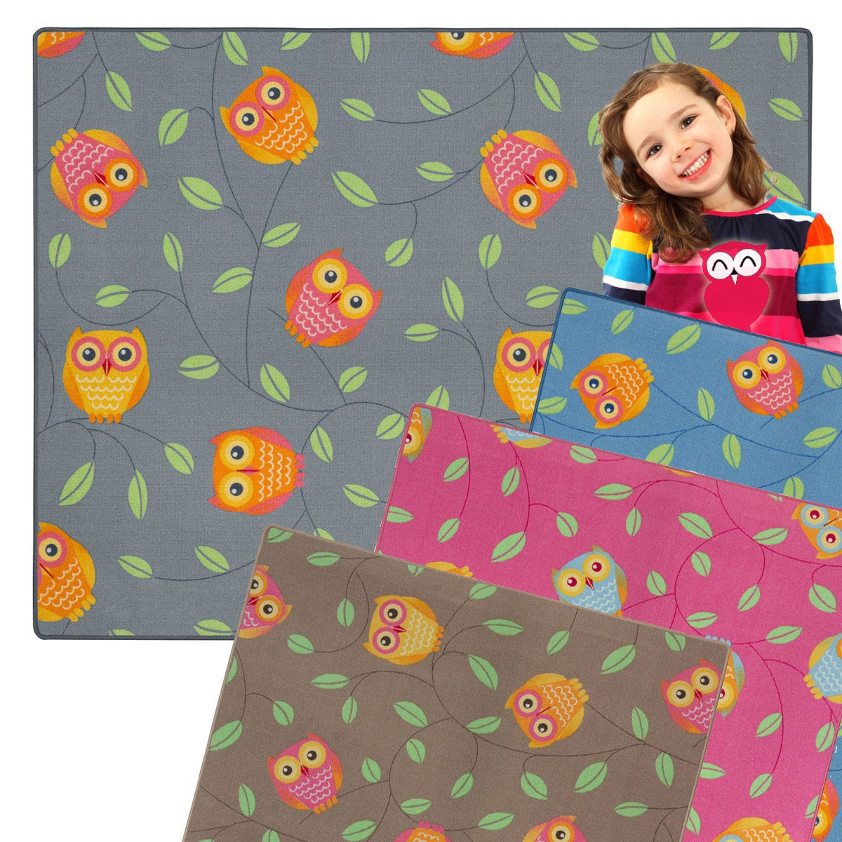 eulen kinderteppich kauz teppich happy owls spielteppich. Black Bedroom Furniture Sets. Home Design Ideas