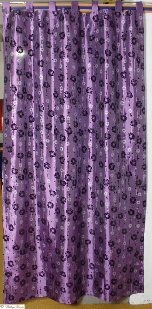 damast vorhang schlaufenschal 250x140 flock blumen lila. Black Bedroom Furniture Sets. Home Design Ideas