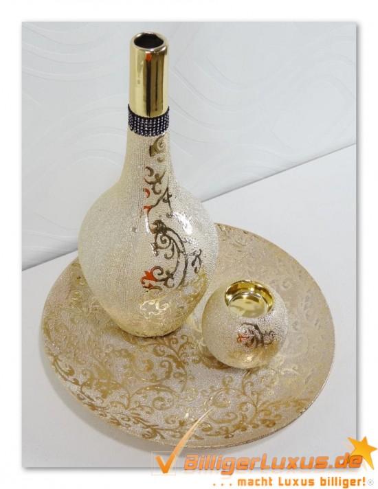 Deko Vasen Set 3tlg Dekoset Vasen Gold Silber Bronze Ebay