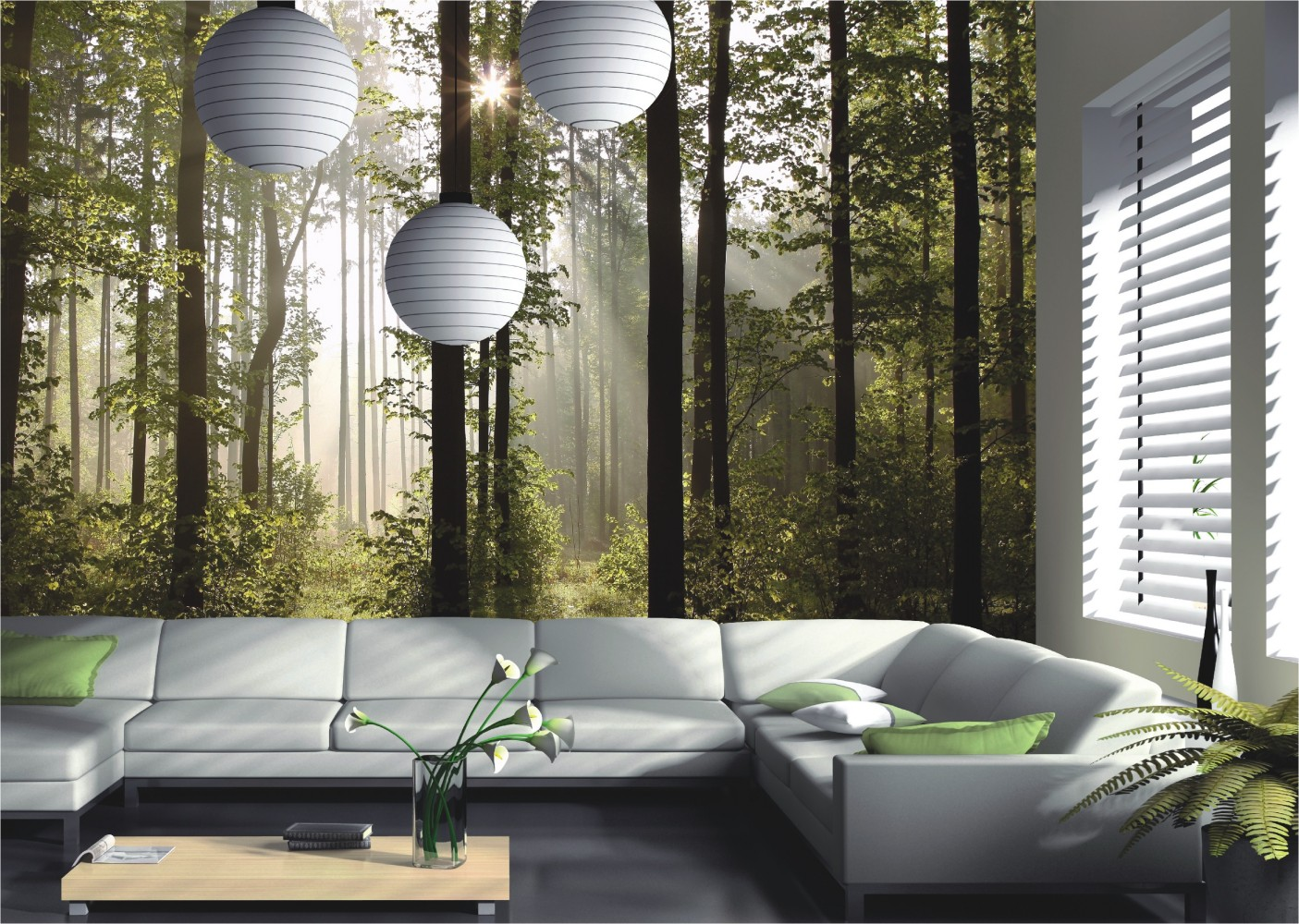 fototapete tapete natur wald b ume lichtspiel foto 360 cm x 254 cm ebay. Black Bedroom Furniture Sets. Home Design Ideas