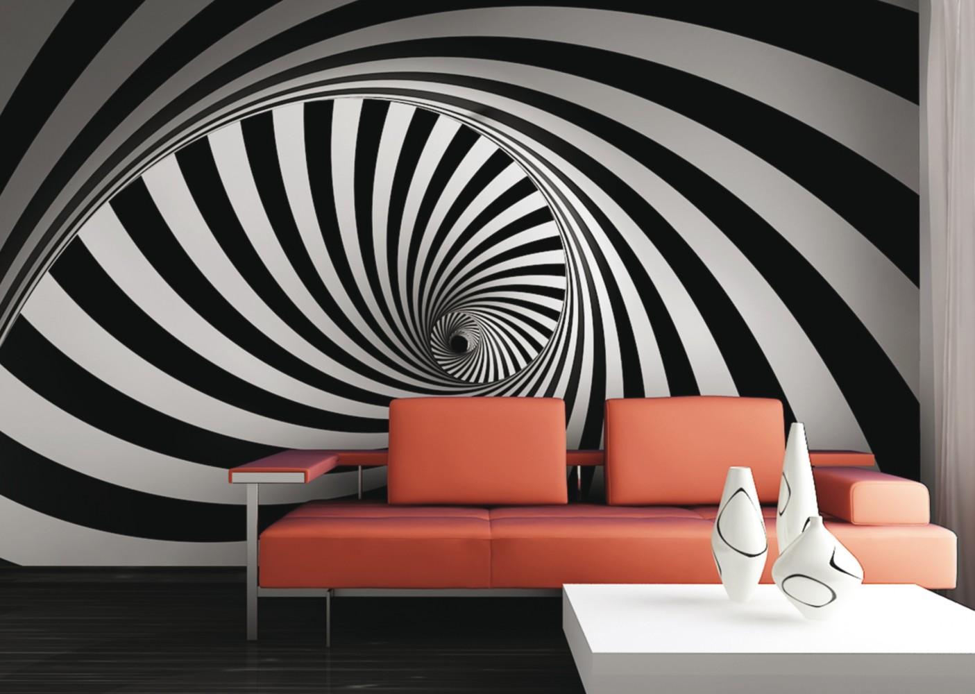 fototapete tapete grafik retro 3d design wirbel foto 360 x. Black Bedroom Furniture Sets. Home Design Ideas