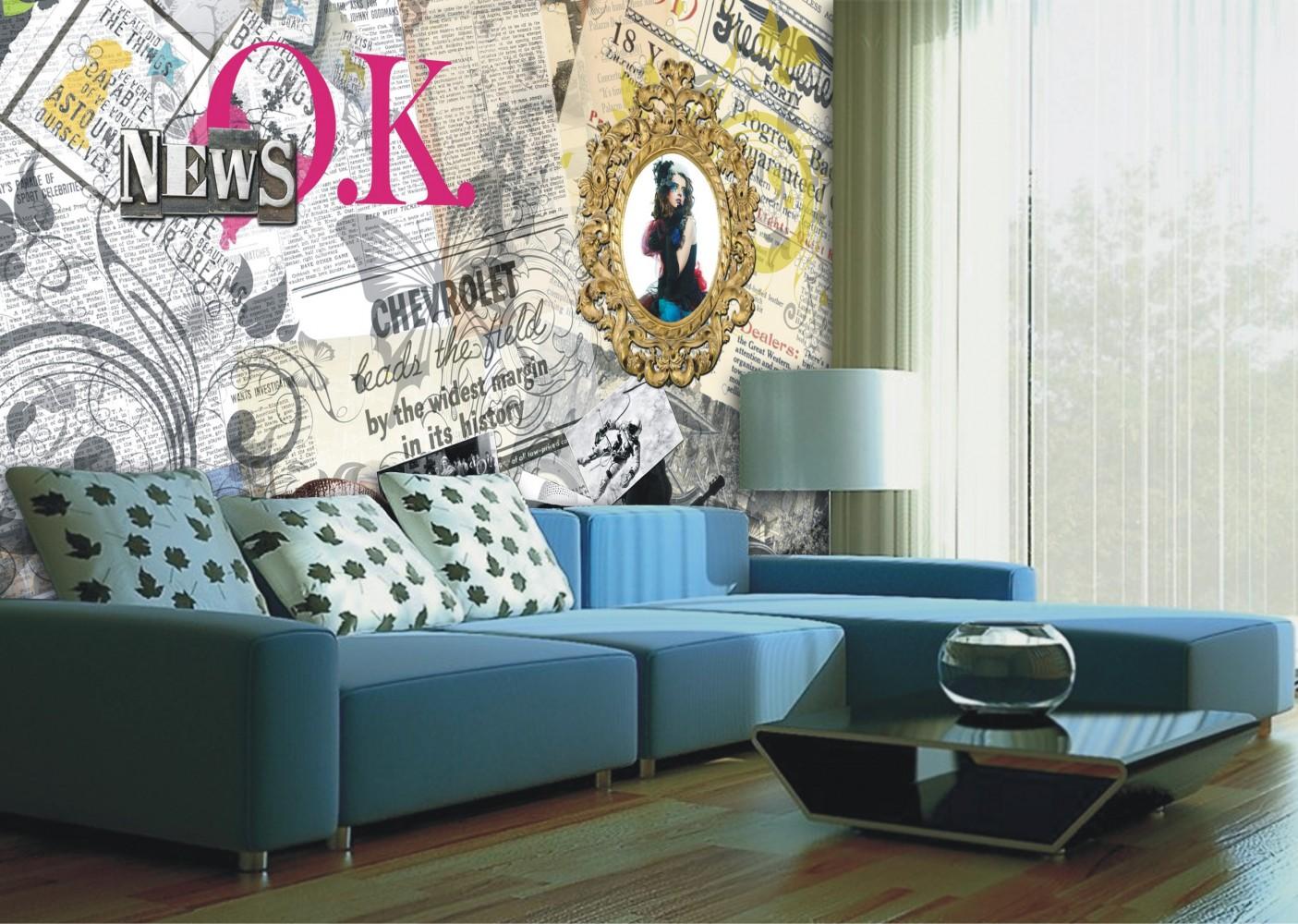 fototapete tapete vintage design zeitungsauschnitte foto 360 cm x 270 cm. Black Bedroom Furniture Sets. Home Design Ideas