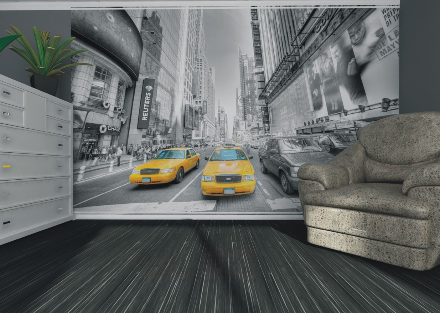 fototapete vlies tapete new york taxi yellow cap manhattan nyc foto 330 x 270 cm. Black Bedroom Furniture Sets. Home Design Ideas