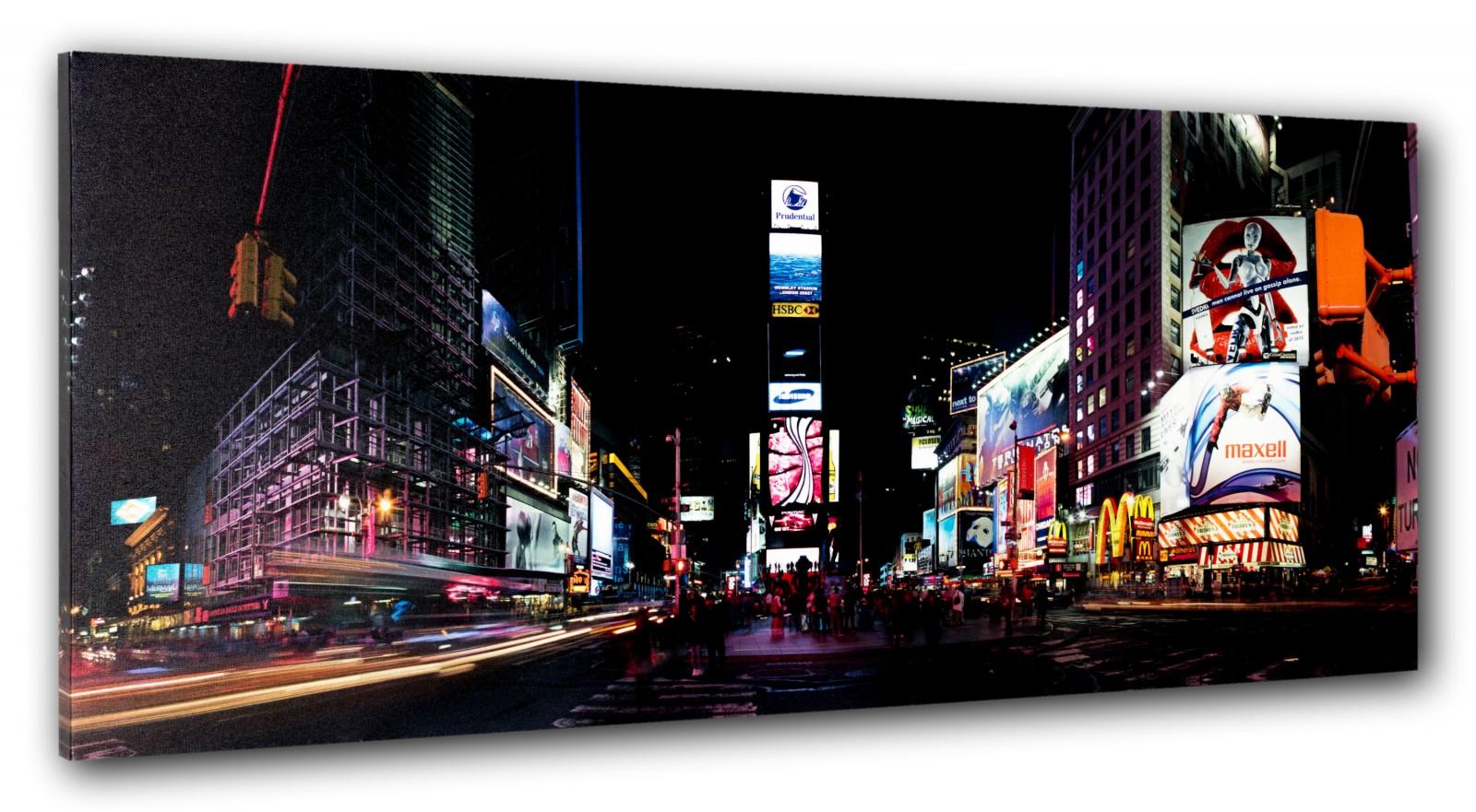 wandbild fototdruck keilrahmen bild new york times square nacht usa 40x100 cm. Black Bedroom Furniture Sets. Home Design Ideas