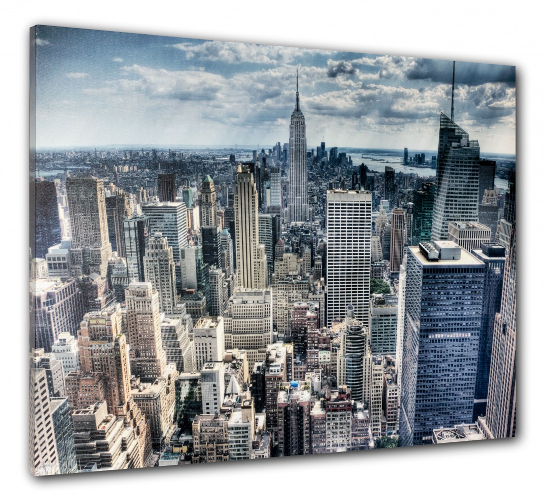 wandbild fotodruck keilrahmen bild new york skyline 3d empire state 60x80 cm. Black Bedroom Furniture Sets. Home Design Ideas