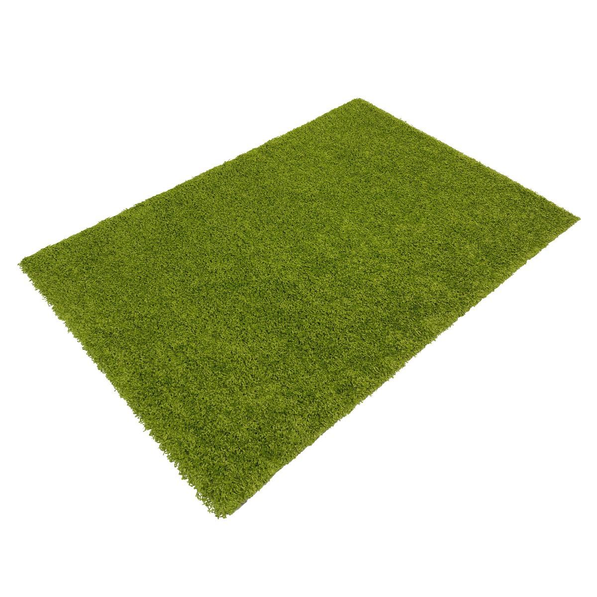 Langflor Teppich grün Uni Hochflor versch Größen