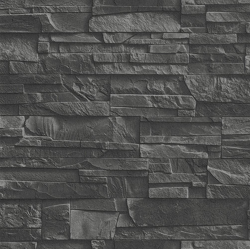 tapete rasch factory 475036 steine schwarz steintapete ebay. Black Bedroom Furniture Sets. Home Design Ideas