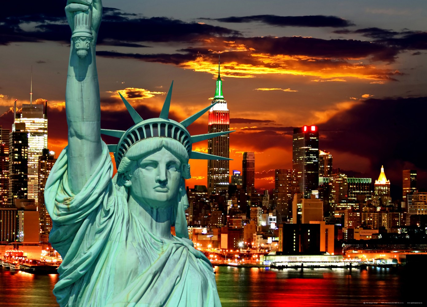 xxl poster fototapete tapete freiheitsstatue new york skyline foto 160 x 115 cm ebay. Black Bedroom Furniture Sets. Home Design Ideas