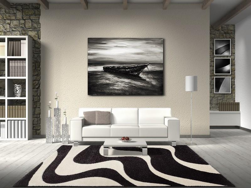 Carpet Florenz modern Designer Carpet 80 x 150 cm black cream