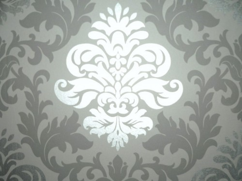 Barock Tapeten Bestseller : Grey and Silver Metallic Wallpaper