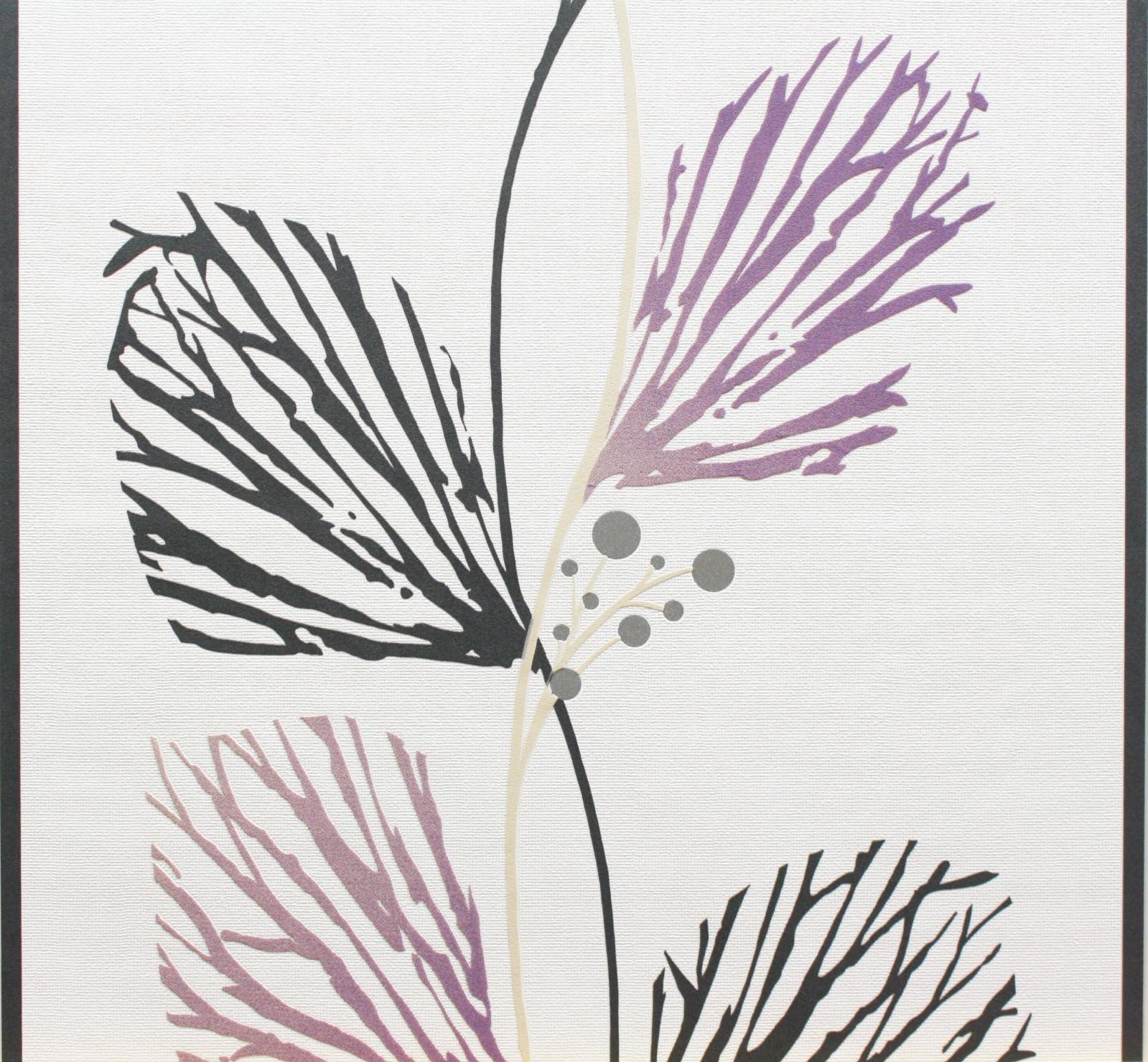 Tapete panels marburg 51521 wei grau lila vliestapete for Tapete lila grau