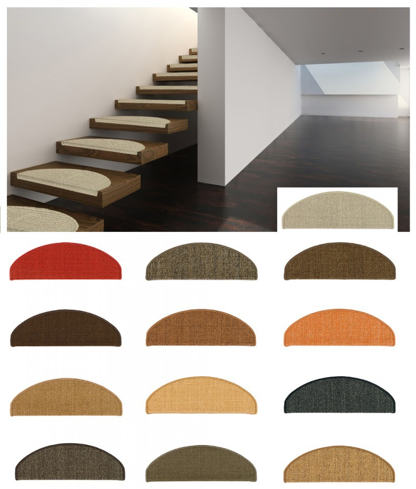 set 15 stufenmatten sisal treppenstufen sisal treppe in 2 gr en 13 farben. Black Bedroom Furniture Sets. Home Design Ideas