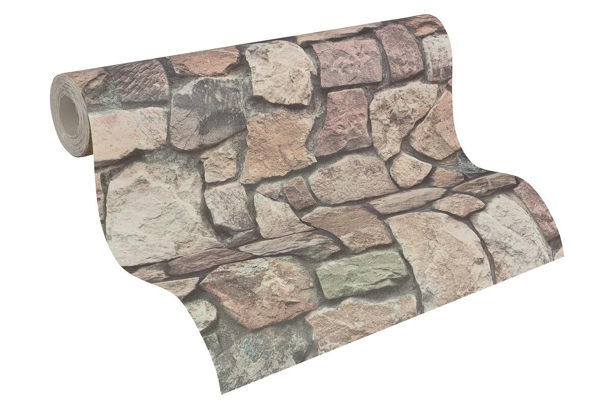 Vliestapete beige grau steine as creation 8595 32 for Tapete natursteinoptik