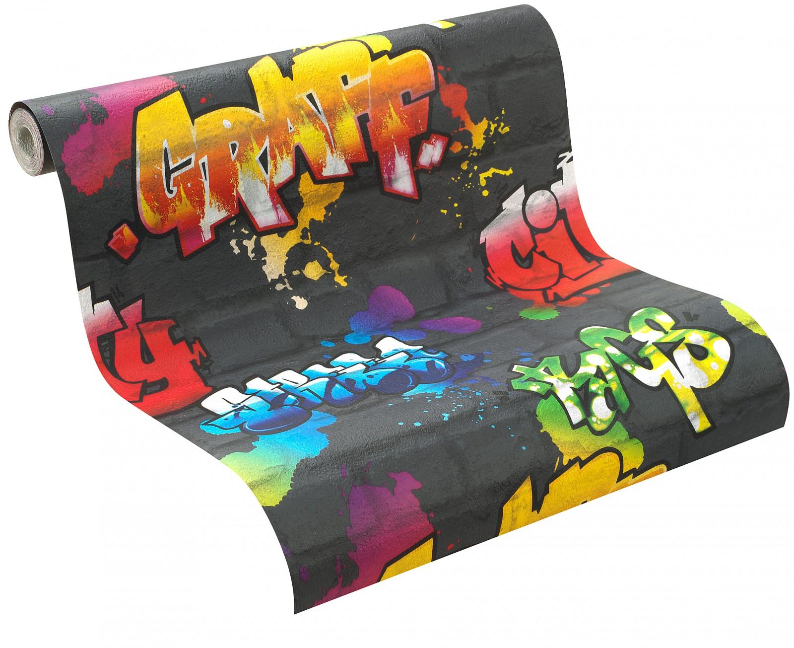 tapete rasch kids 39 club 237801 steine graffiti schwarz bunt. Black Bedroom Furniture Sets. Home Design Ideas