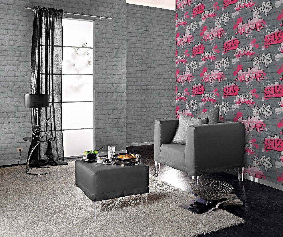 tapete rasch kids 39 club 237818 steine graffiti silber pink. Black Bedroom Furniture Sets. Home Design Ideas