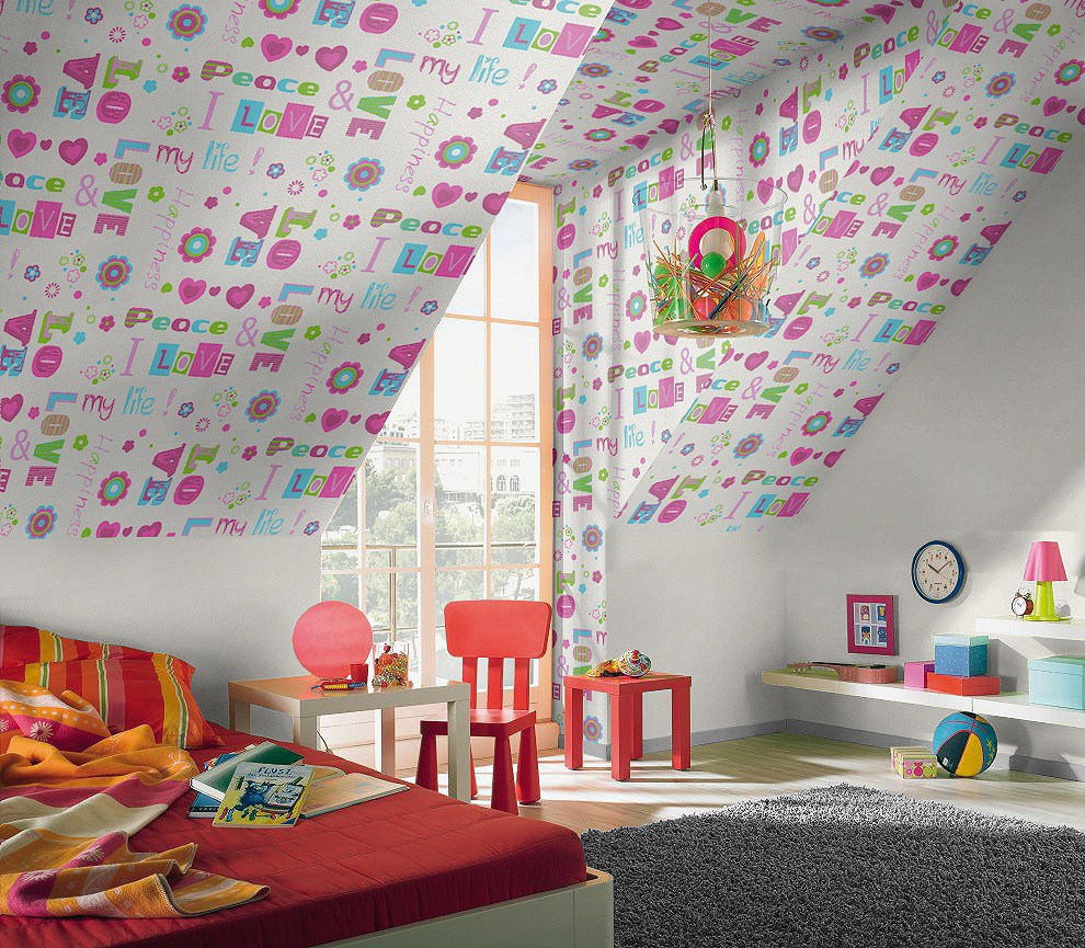 tapete rasch kids 39 club 478419 love peace happiness pink. Black Bedroom Furniture Sets. Home Design Ideas