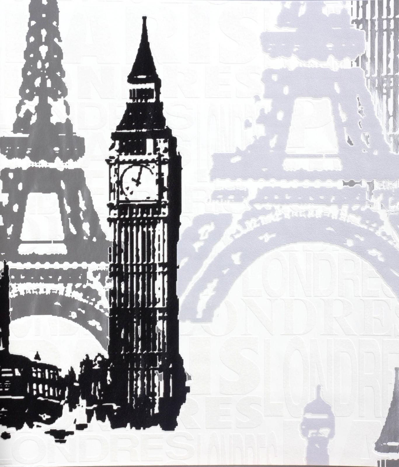 tapete rasch kids 39 club 734805 stadt paris london weiss. Black Bedroom Furniture Sets. Home Design Ideas