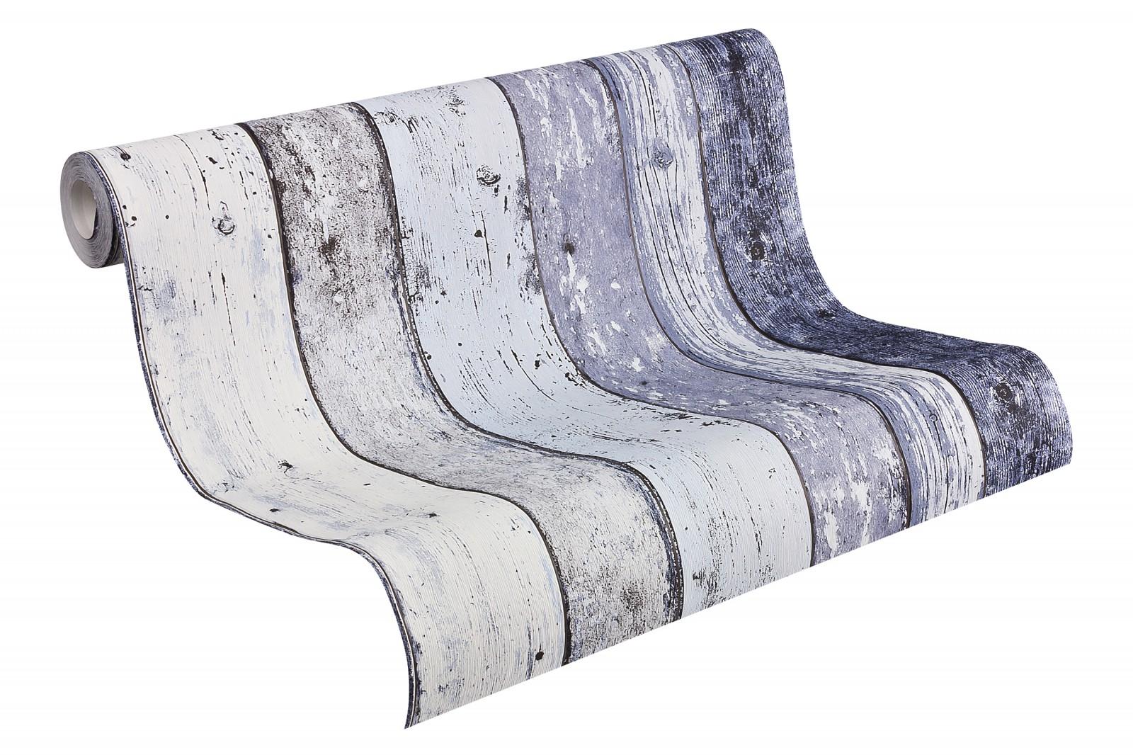 vliestapete blau holz as creation 8550 60. Black Bedroom Furniture Sets. Home Design Ideas