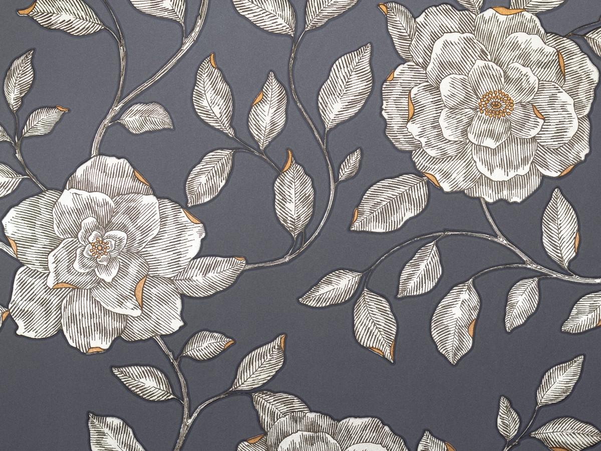 tapete sch ner wohnen 5 rosen blau silber 9451 43. Black Bedroom Furniture Sets. Home Design Ideas