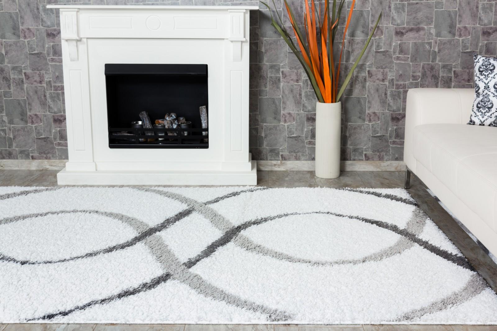 teppich shaggy portofino hochflor teppich modern 133x190 cm wei grau. Black Bedroom Furniture Sets. Home Design Ideas