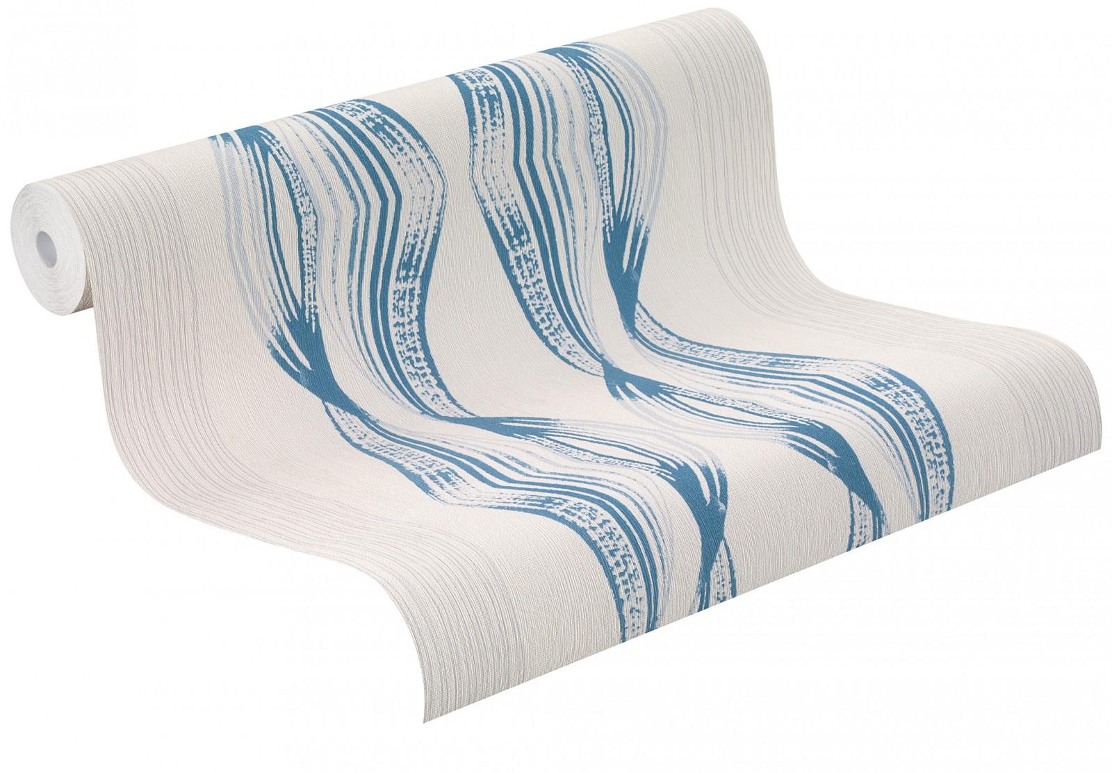 Kinder Tapeten Kombinieren : Tapete Rasch Wellen cremegrau blau Easy Passion 731859