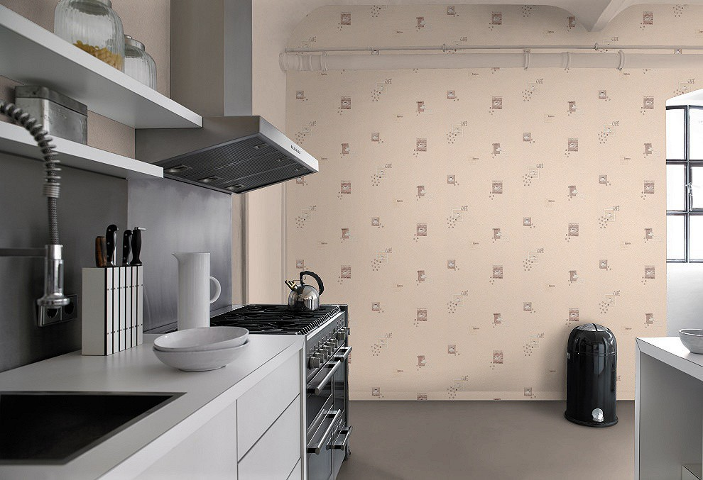 wallpaper kitchen coffee cream beige brown wallpaper Rasch ...