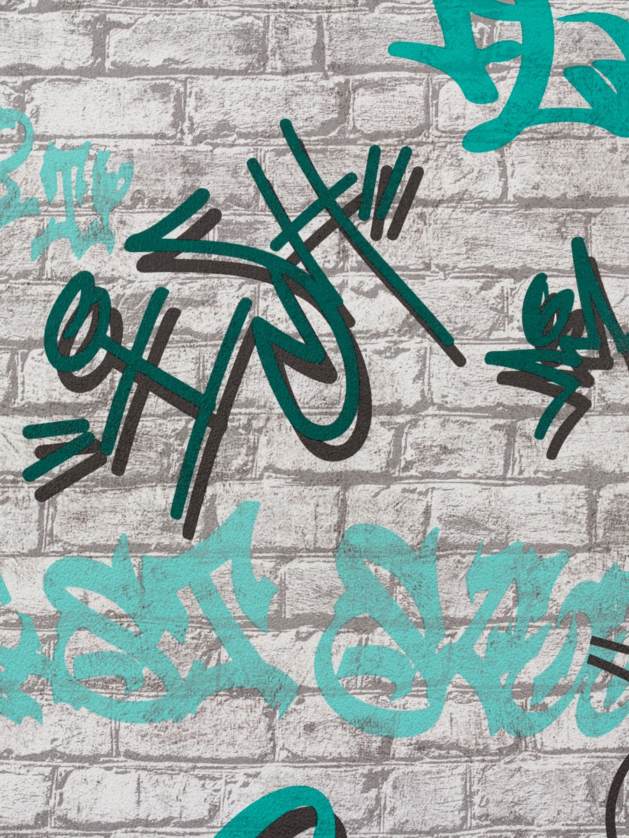 tapete graffiti grau t rkis p s young spirit 05601 30. Black Bedroom Furniture Sets. Home Design Ideas