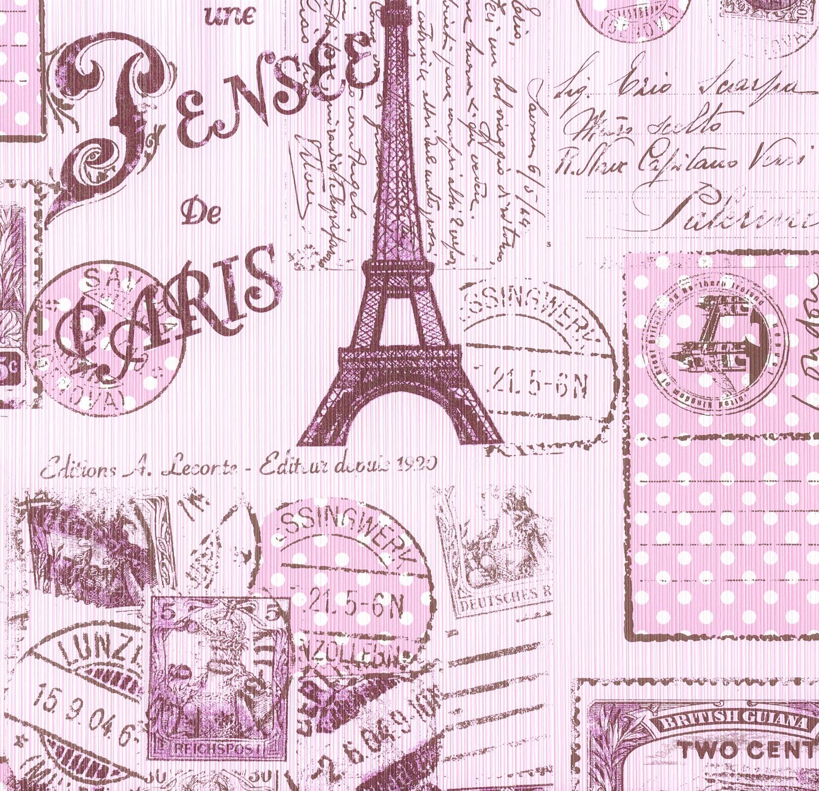 Tapete Boys  amp  Girls Kindertapete Jugend 93630-2 936302 Eiffelturm pink    Eiffel Tower Wallpaper For Bedroom