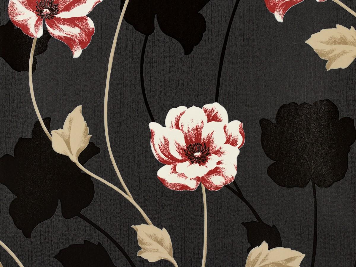 tapete blumen schwarz rot wei as creation 3085 59. Black Bedroom Furniture Sets. Home Design Ideas