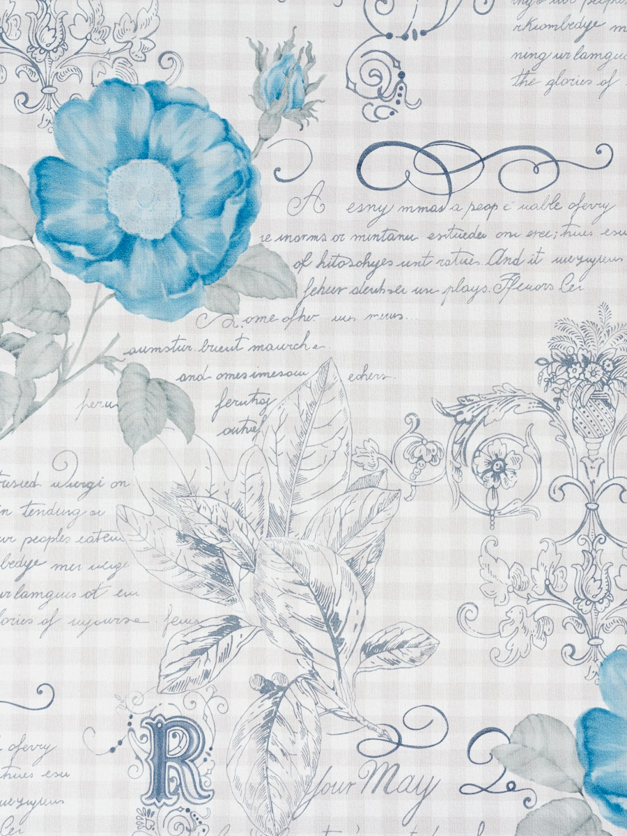 rasch textil vintage diary wallpaper 255118 flowers blue grey. Black Bedroom Furniture Sets. Home Design Ideas