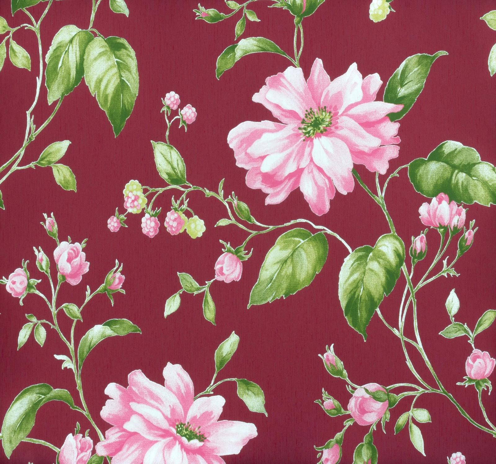 marburg tapete astoria vliestapete 53741 blumen bordeauxrot gr n rosa 3 74 1qm. Black Bedroom Furniture Sets. Home Design Ideas