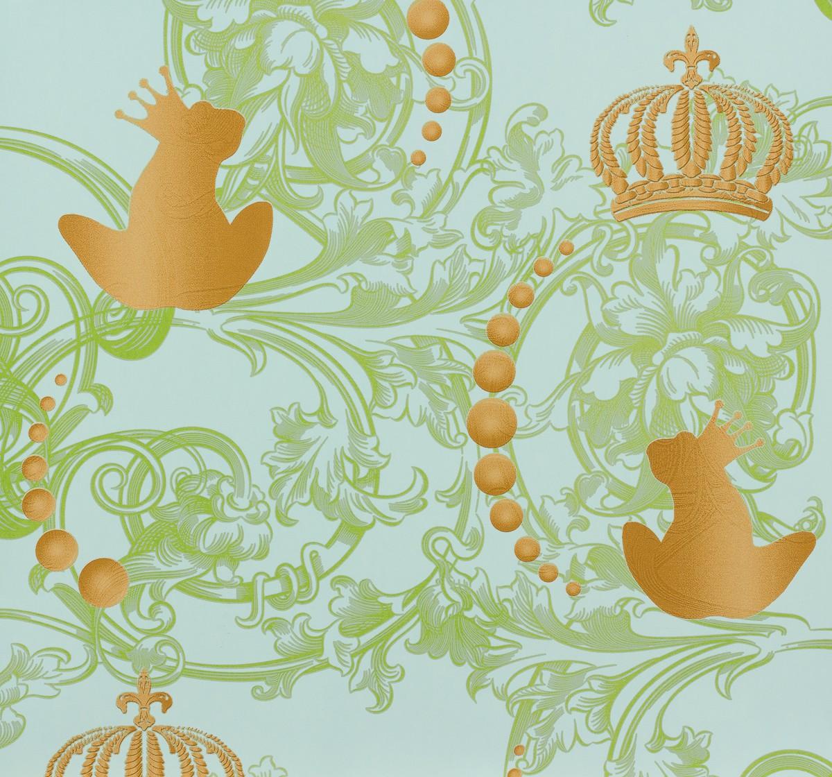 kindertapete gl ckler froschk nig blau gold 54114. Black Bedroom Furniture Sets. Home Design Ideas