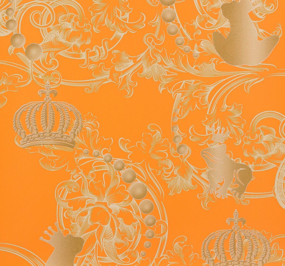 gl ckler kindertapete vlies childrens paradise 54113 froschk nig orange gold 3 ebay. Black Bedroom Furniture Sets. Home Design Ideas