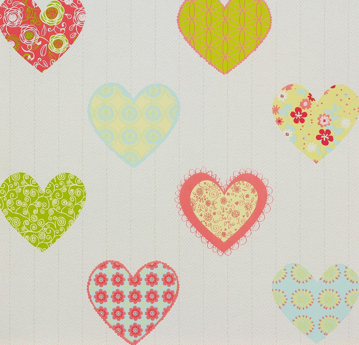 p s kindertapete happy kids tapete 05583 20 558320 herzen wei gr n pink. Black Bedroom Furniture Sets. Home Design Ideas