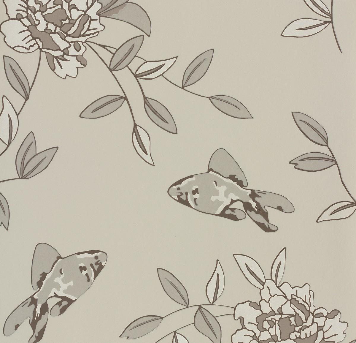 vliestapete naf naf a s cr ation tapete 95228 1 952281 fische beige grau. Black Bedroom Furniture Sets. Home Design Ideas