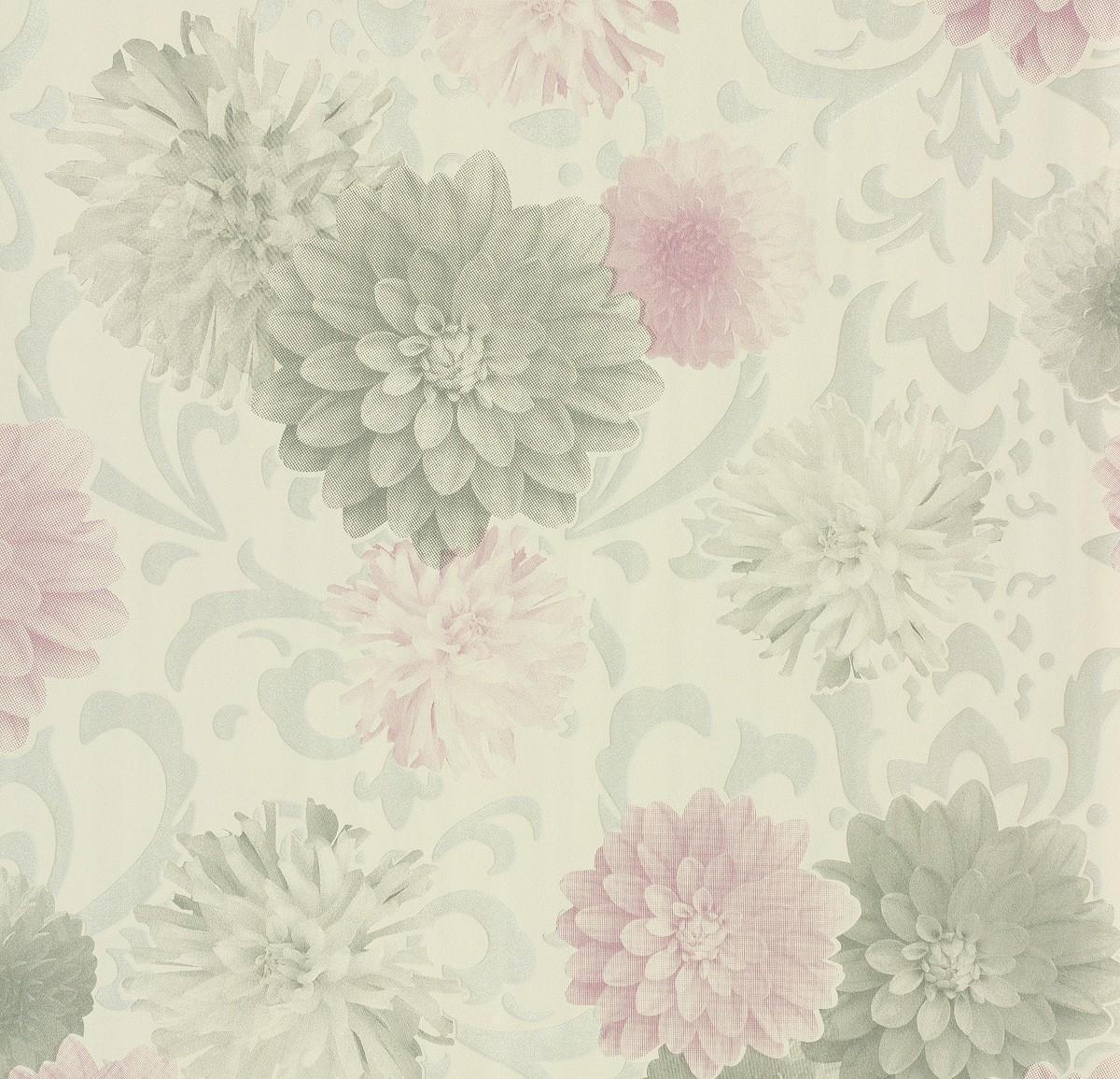 tapete naf naf grau wei floral 95219 1. Black Bedroom Furniture Sets. Home Design Ideas