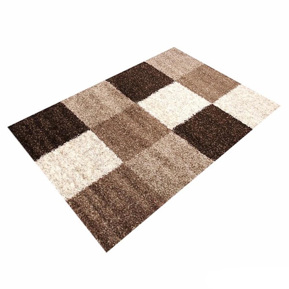 teppich braun kariert basic trendy shaggy 5 gr en. Black Bedroom Furniture Sets. Home Design Ideas