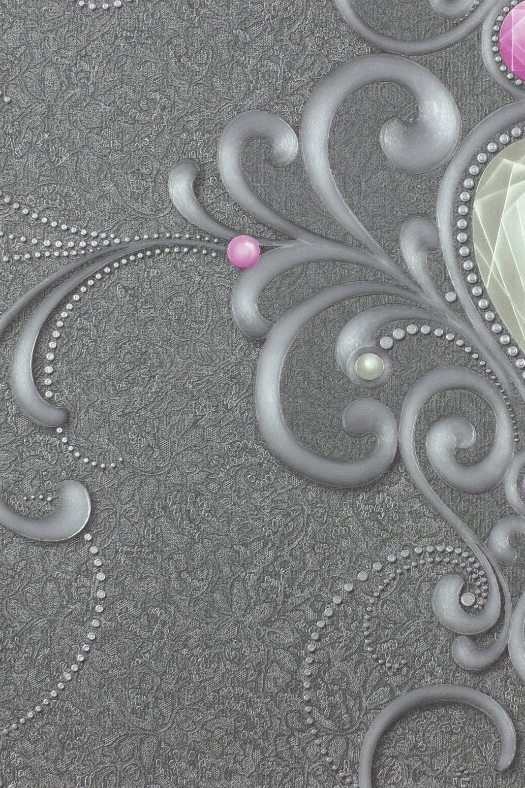 tapete harald gl ckler barock strass grau 54801. Black Bedroom Furniture Sets. Home Design Ideas
