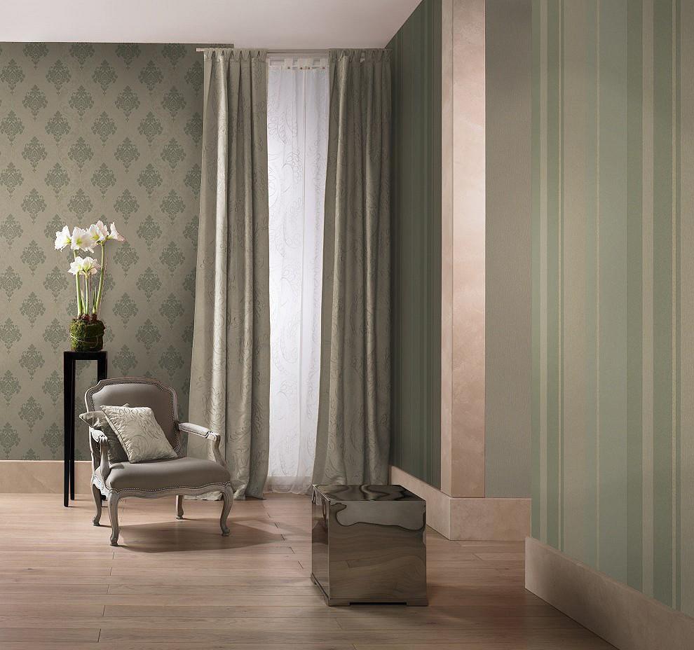 rasch tapete gentle elegance 725186 streifen gruen khaki gold. Black Bedroom Furniture Sets. Home Design Ideas