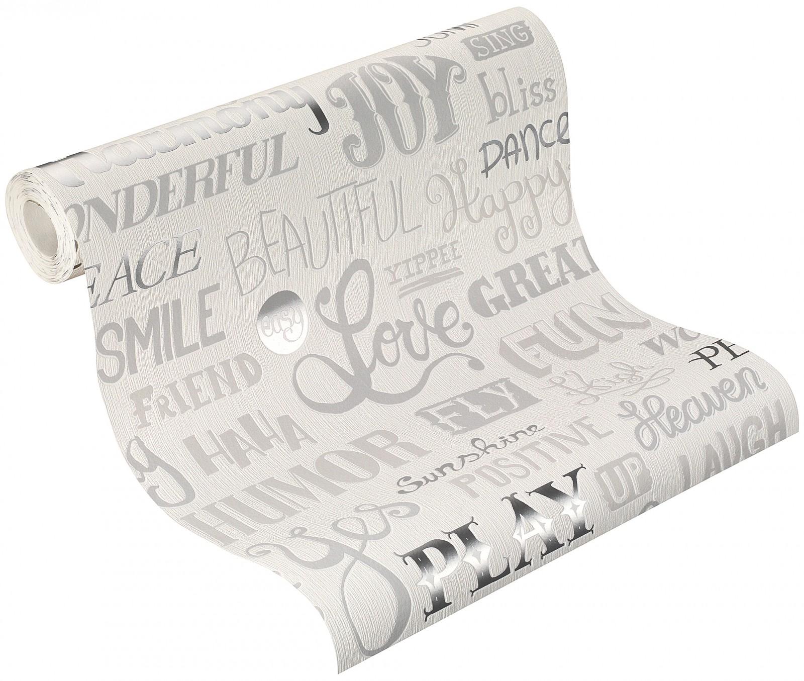 rasch tapeten city 886313 struktur schrift weiss grau silber. Black Bedroom Furniture Sets. Home Design Ideas