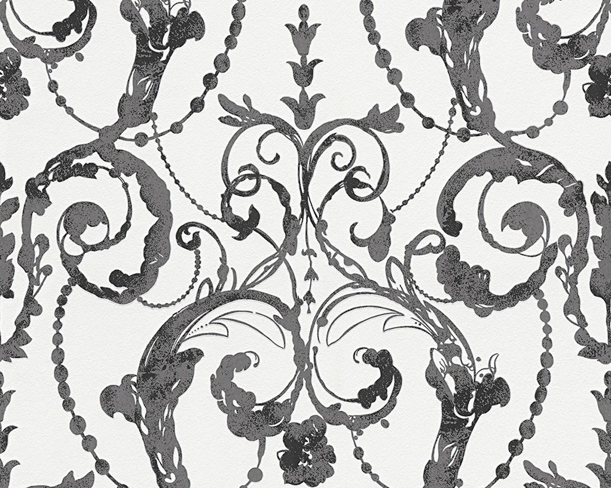 vliestapete barock wei schwarz livingwalls 95691 1. Black Bedroom Furniture Sets. Home Design Ideas