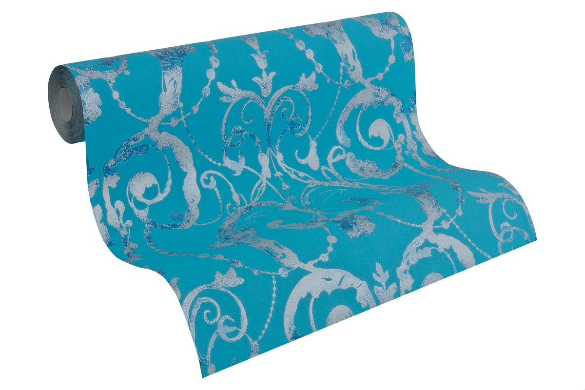vliestapete barock t rkis blau livingwalls 95691 5. Black Bedroom Furniture Sets. Home Design Ideas