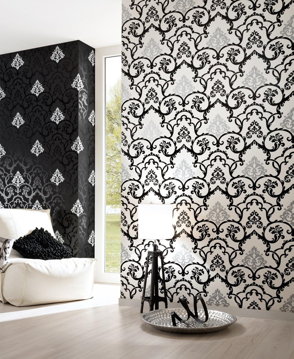 Vliestapete barock silber schwarz livingwalls 95538 1 for Tapete schwarz silber