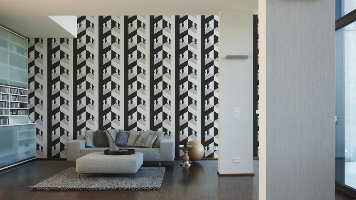vliestapete lars contzen grafisch grau schwarz 95524 2. Black Bedroom Furniture Sets. Home Design Ideas