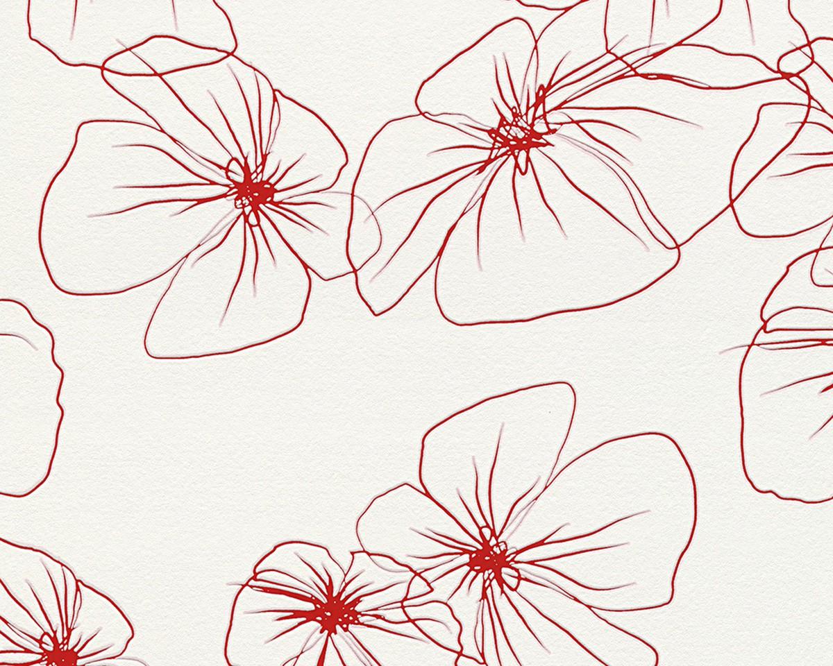 Vliestapete Wohnzimmer Ideen : ... Florale Tapeten Design Rot Weiß ...