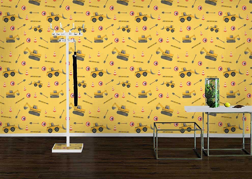 Keilrahmen Mit Tapeten Gestalten : Rasch Vliestapete 465402 Kids & Teens Tapete Bagger gelb grau rot