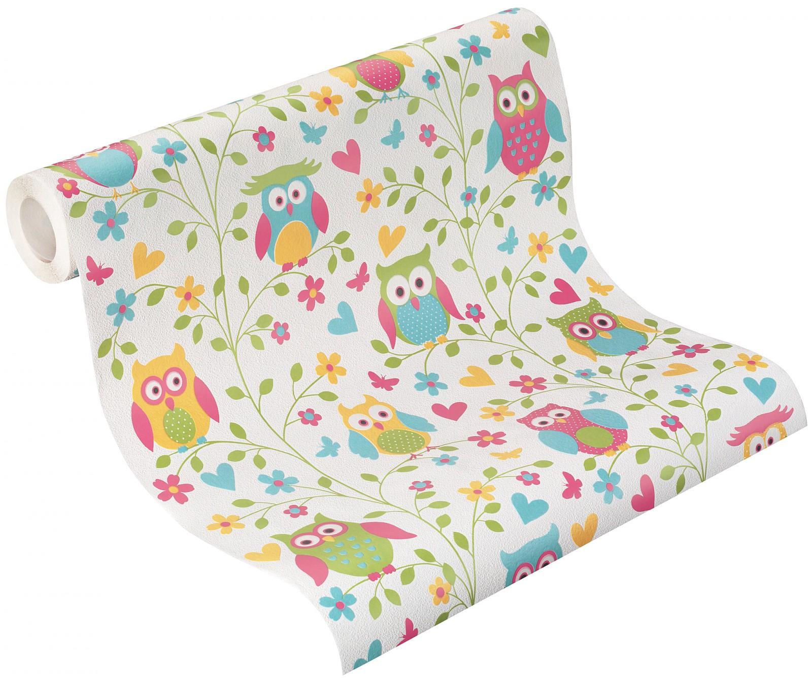 rasch vliestapete 459104 kids teens tapete eulen bunt. Black Bedroom Furniture Sets. Home Design Ideas