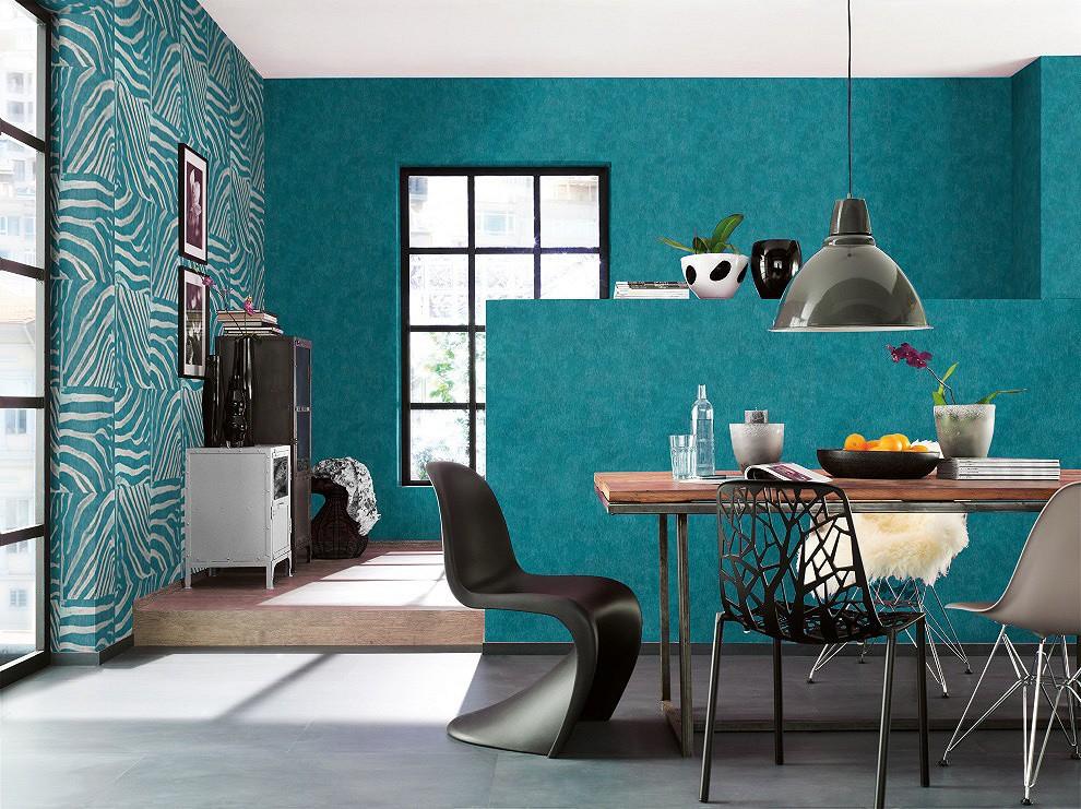 rasch tapeten pop skin zebraoptik tuerkis grau 498509. Black Bedroom Furniture Sets. Home Design Ideas