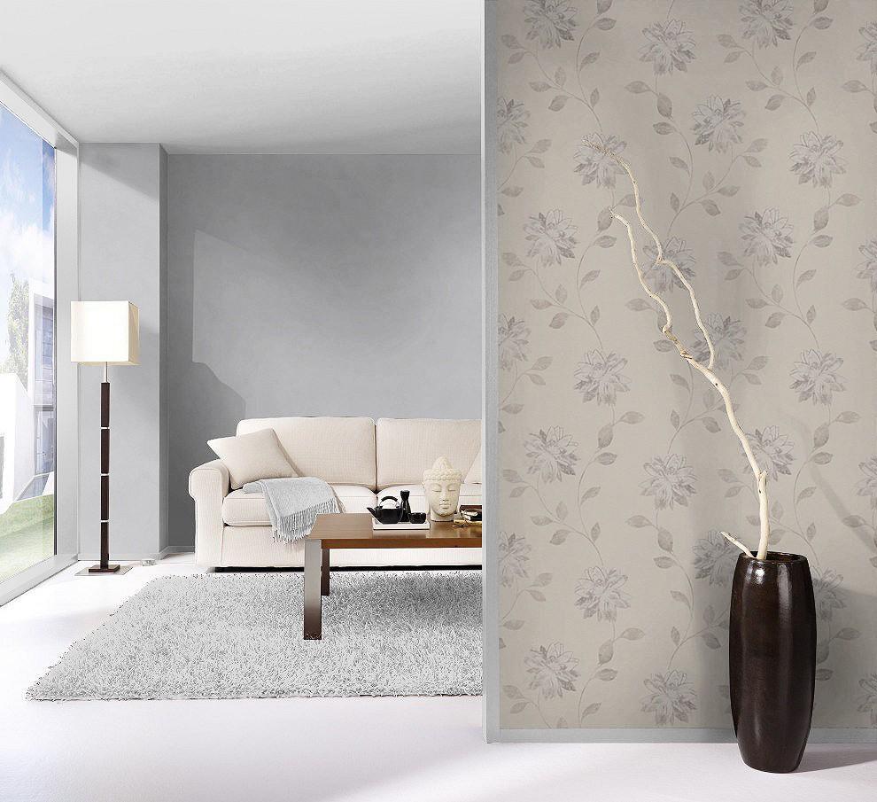 tapete rasch fiducia blumen beige grau 425130. Black Bedroom Furniture Sets. Home Design Ideas